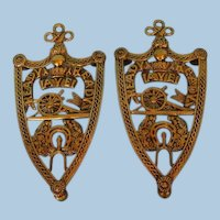 Pair 19th Century English Brass Military Trivets