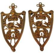 Pair 19th Century English Brass Military Trivets