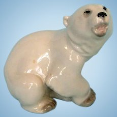 Vintage Russian Porcelain Baby Polar Bear by Lomonson