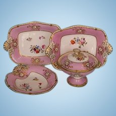 Mid-19th Century Set of 4 English Porcelain Dessert Serving Dishes