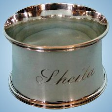 Antique English Sterling Silver Napkin Ring in Original Case