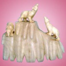Italian Alabaster Deco Polar Bear Lamp