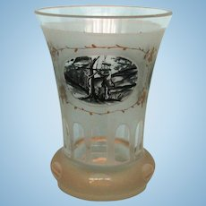 19th Century Bohemian Glass Beaker with Hunting Scenes