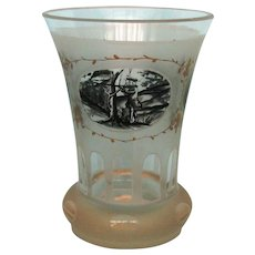 19th Century Bohemian Glass Beaker with Hunting Scenes