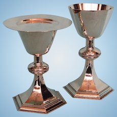 2 English Hand-hammered Sterling Silver Chalices and a Matching Paten 1970s
