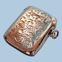 1906 English Sterling Silver Vesta Case by Charles Lyster & Sons