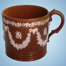 19th Century English Brown Stoneware Coffee Can with Applied Neo-Classical Decoration