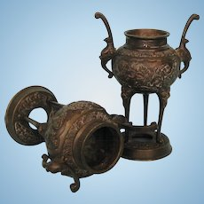 Pair of Meiji Period Japanese Bronze Censers or Koros on Long Slender Legs