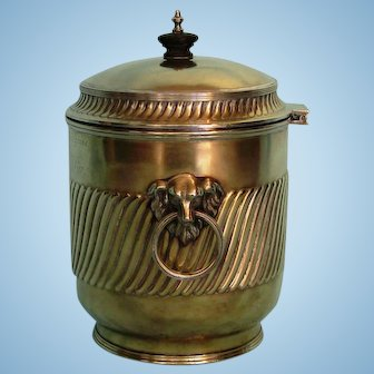 19th Century English Silver Plate Biscuit Barrel with Military Inscription