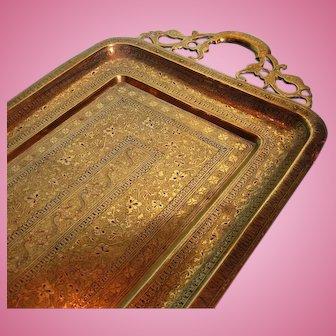 1910 Indian Benares Long Brass Tray