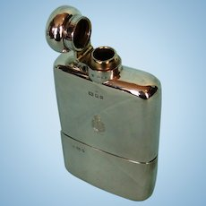 George V Period Crested Sterling Silver Flask by Charles Henry Demenil