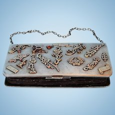 Pre-Revolution Russian 875 Silver Purse with Jeweled Gold Appliques