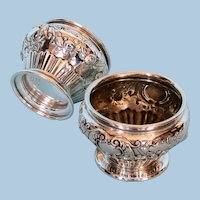 Pair of 1920s Sterling Silver Open Salt Cellars by Gorham
