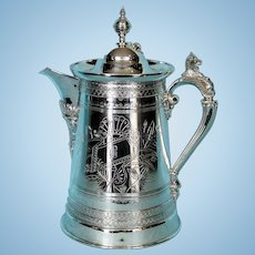 19th Century American Silver Plate Ice Water Pitcher by Simpson, Hall, Miller