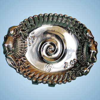 19th Century American Embossed Sterling Silver Dish by Whiting
