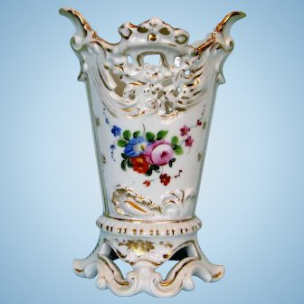 19 Century Old Paris Porcelain Vase with Hand-painted Decoration