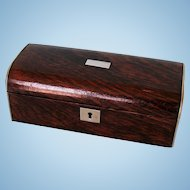 19th Century English Rosewood Veneered Box with Pewter Mounts