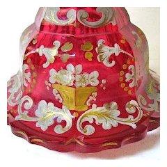 Large 1830-50 Cranberry Glass Bohemian Perfume, Biedermeier Period