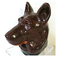 Early 1900s Figural German Shepherd Pottery Bank