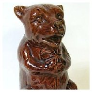 Early 1900s Friendly Sitting Brown Bear Pottery Bank