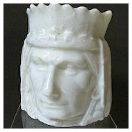 Czech/Austrian Ceramic Figural Indian Head Bank, White Glaze