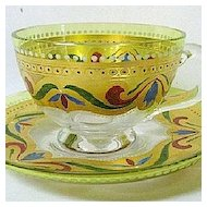Late 1800s Josephinenhutte Citron to Clear Glass Cup and Saucer