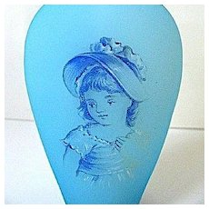 Late 1800s Bohemian Blue Satin Glass Portrait Perfume w/Faceted Stopper