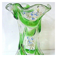 Late 1800s Moser Glass Vase w/Enameling and Green Glass Marquetry