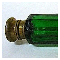 Late 1800s English Green Glass Double Lay-Down Perfume