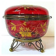 Late 1800s Moser Deep Red Glass Dresser Box with Brass Ormolu Feet