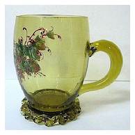 Late 1800s Heckert Citron Glass Mug; Enameled Grapes Decor