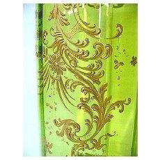 1880s Moser Green Glass Cylinder Vase/Straw Holder w/Intricate Gold Gilt Enameling