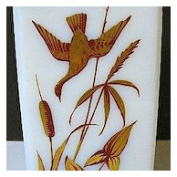 1850s-70s Rectangular White Glass Vase w/Enameled Gold Gilt Flying Ducks and Foliage