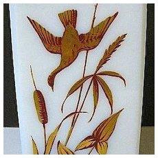 1850s-70s Rectangular White Glass Vase w/Enameled Gold Gilt Flying Ducks and Foliage