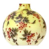Large 1800s Mt. Washington Yellow Burmese Vase w/ Enameled Flowers