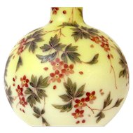Large 1800s Mt. Washington Yellow Burmese Vase w/ Enameled Flowers