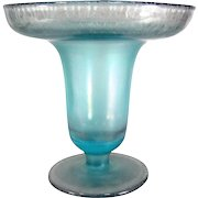 Vintage BLUE ONION SKIN STRETCH Vase Art Glass Compote Gorgeous