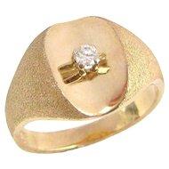 Vintage 10K MODERN Gold Diamond Ring HOUSE OF KRAUS Mid Century Sz. 10.5