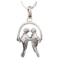 Vintage LOVEBIRDS Sterling Charm Silver Moveable Articulated Parrot Pendant