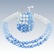 Vintage Blue Moonglow Lucite Bead Ab Glass Crystal Necklace & Memory Wire Bracelet