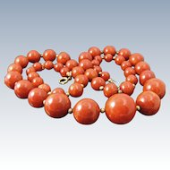 "Vintage BAKELITE BEAD NECKLACE 30"" Long Red Orange Marble Amber Beads 79 Gr"