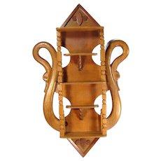 Vintage CARVED WOOD SWAN Wall Shelf 5 Shelves Turned Wood Figural