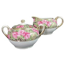 Vintage IMPERIAL NIPPON ROSE Creamer Sugar Bowl Hand Painted Pink Gold Gilt