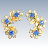 Vintage WEISS NY Enamel Rhinestone Earrings Chaton AB Rhinestones Clip On