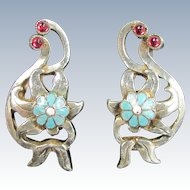 Vintage STERLING ENAMEL Flower Earrings Turquoise Red Floral Clip On
