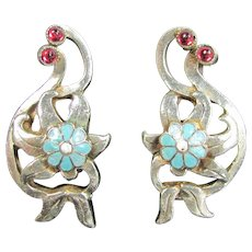 Vintage STERLING ENAMEL Flower Earrings Turquoise Red Floral Clip On