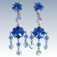 Vintage MARGARITA CRYSTAL GIRANDOLE Earrings Clip Chandelier Dangle Ab Blue