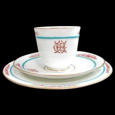 Antique 1875 ENGLISH CUP SAUCER Trio Monogrammed Hand Enamel Painted Roses Pink