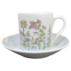 Vintage Hutschenreuther May Cup & Saucer Ole Winter Flowers Garden Birds Demi