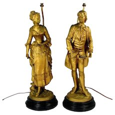 Antique COLONIAL LADY & MAN Lamp Pair Hospitality Good Cheer Statue Gilt Metal
